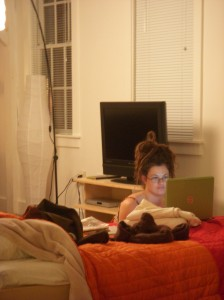 Sjanie studying