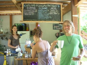 Beth serving us inside the Laulima Farm Fruit stand- awesome food