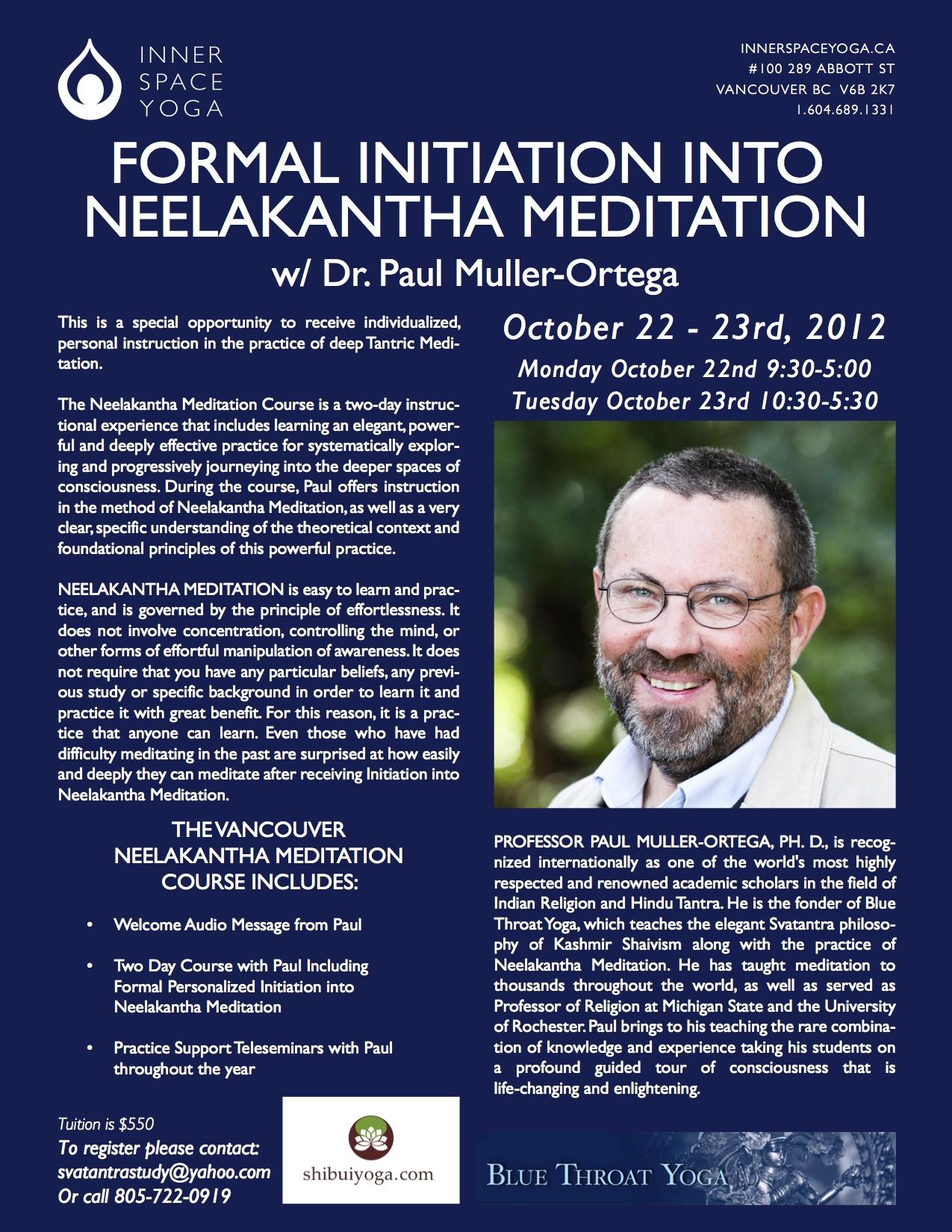 Neelankantha Meditation Initiation in Vancouver